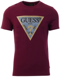 Guess Burgundy T-Shirt Logo Triangle At The Front