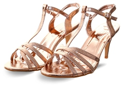 Dv8 Rose Gold Foil Ankle Strap Open Toe Shoe