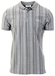 Le Shark Mid Grey Marl Norwood Pinstripe Cotton Pique Polo Shirt