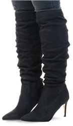 Truffle Black Micro Pointed Heeled Knee High Boots