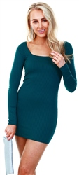 Parisian Teal Rib Knit Square Neck Long Sleeve Bodycon Mini Dres
