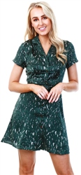 Qed Green Pattern Print Short Dress