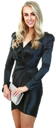 Ax Paris Black Ruched Bodycon Wrap Dress