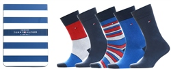 Hilfiger Denim Blue 5-Pack Men's Bird's Eye Print Socks