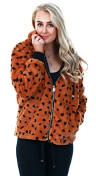 Urban Bliss Brown Animal Spot Faux Fur Hood Coat