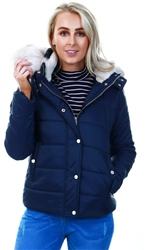 Urban Bliss Navy Padded Faux Fur Jacket