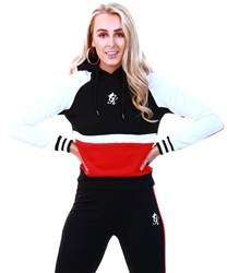 Gym King Black / Red / White Loyalty Crop Hoodie