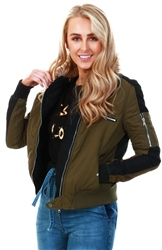 Urban Bliss Khaki / Black Padded Bomber Jacket