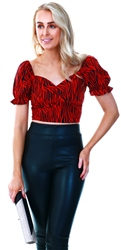 Qed Red /Black Pattern Print Bardot Crop Top
