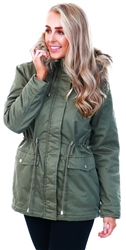 Jdy Green / Kalamata Faux Fur Edge Parka