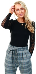 Parisian Black Puffed Lace Sleeve Round Neck Top