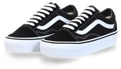 Black/White Platform Old Skool Shoes by Vans