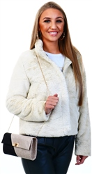 Only Grey / Pumice Stone Faux Fur Jacket