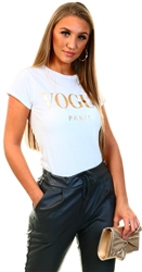 Missi Lond White Vogue Print Short Sleeve T-Shirt