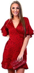 Ax Paris Red Spotty Wrap Dress