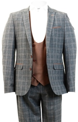 Alex & Turner Dark Grey Zane Checked 3 Piece Suit