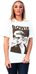 Vintage White David Bowie Printed T-Shirt by Amplified