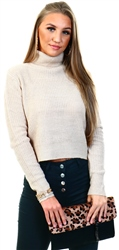 Qed Cream Chunky Knit Crop Jumper