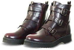 Dv8 Wine Pu Buckle Military Boots
