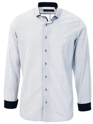 Bewley & Ritch White / Navy Slim Fit Microdot Long Sleeve Shirt