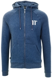 11degrees Navy Marl Core Full Zip Hoodie