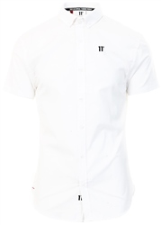 11degrees White Short Sleeve Contrast Logo Shirt