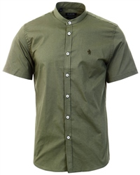 Alex & Turner Khaki Granda Collar Short Sleeve Shirt