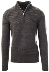 Threadbare Charcoal Half Zip Knitted Sweater