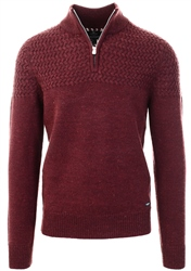 Threadbare Burgundy Half Zip Knitted Sweater