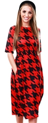 Missi Lond Red Houndstooth Print Side Tape Midi Dress