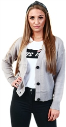 Brave Soul Crystal Grey Kikia Button Knitted Cardigan