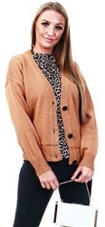 Brave Soul Spiced Camel Kikia Button Knitted Cardigan
