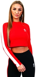 Gym King Red Kate Long Sleeve Crop Top