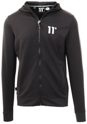 11degrees Black Core Full Zip Poly Track Top With Hood