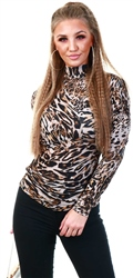 Veromoda Black / Leopard Print High Neck Top