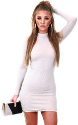 Ax Paris Nude Sparkle Bodycon Dress
