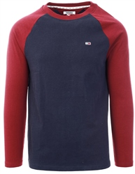 Hilfiger Denim Burgandy / Black Iris Colour-Block Long Sleeve T-Shirt