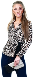 Influence Leopard Print Wrap Tie Blouse