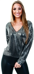 Black/Silver Sequin Long Sleeve Top by Vila