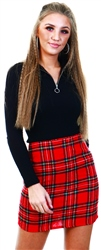 Parisian Red Tartan Check Mini Skirt