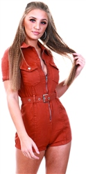 Parisian Rust Zip Front Short Sleeve Stretch Denim Playsuit