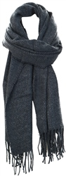 Pieces Dark Grey Melange Knitted Long Scarf