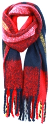 Pieces Racing Red Knitted Long Scarf