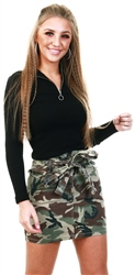 Parisian Camo Paperbag Waist Denim Tie Detail Mini Skirt