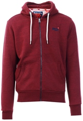 Superdry Buck Burgundy Marl Orange Label Classic Zip Hoodie