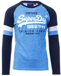 Superdry Blue Grit Texture Long Sleeve Top