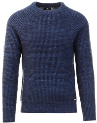 Threadbare Navy Cable Knit Sweater