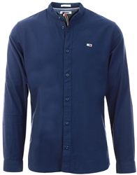Navy Flannel Mandarin Collar Shirt by Tommy Jeans