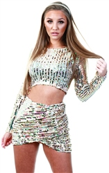 Club L Gold Sequin Wrap Front Skirt