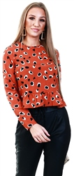 Influence Rust Leopard Frill Long Sleeve Top